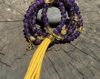 AMETHYST & CITRINE Mala Beads with YELLOW Suede Tassel | 108 Bead Crystal Mala Yoga Necklace | Om, Meditation Beads by Mayan Rose MayanRose