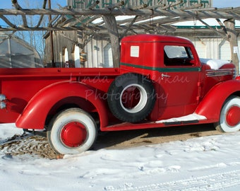 Antique Red Pickup Truck Photo
