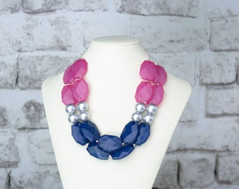 SALE!!! Beaded Statement Necklace in Navy Blue, Pink and Silver Statement Necklace