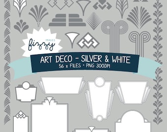 PNG: 56 x Art Deco 1920s 1930s Silver and White Clipart - Digital files PNG 300dpi with Instant Download. CA0029