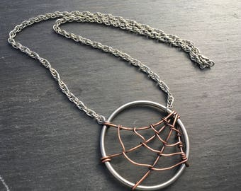 Spiderweb pendant halloween necklace in copper and stainless steel