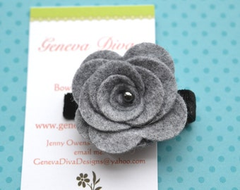 Charcoal Gray Felt Rosette Flower Clip with Black accents