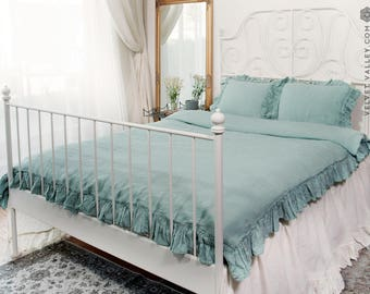 Linen duck egg blue comforter cover with ruffles -luxurious king queen size doona cover- romantic vintage look stonewashed linen duvet