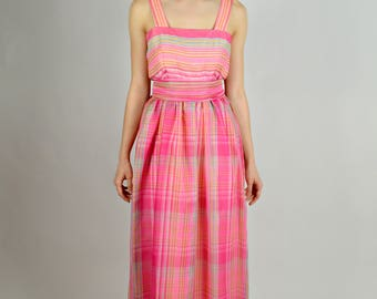 Womens Spring Formal, Pink Prom Dress, Stripped Long Dress, Preppy Clothing, Bridesmaid Dress, 1980s Prom Dress, Summer Long Dresses, Size S