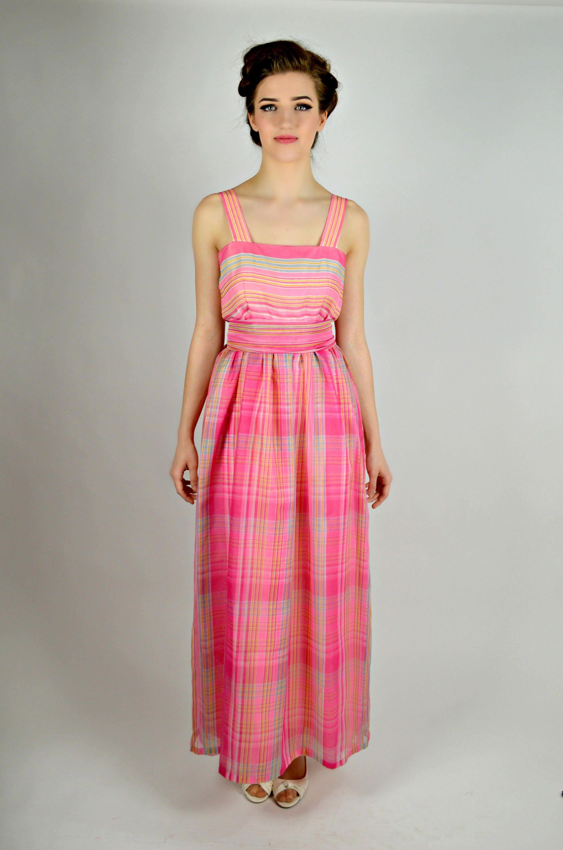 Womens Spring Formal Dress Pink Striped Dress Preppy Maxi