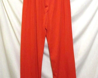 Men's Mid Century Vintage 60s Red Nylon PAJAMA BOTTOMS Navy Blue Piping sz L