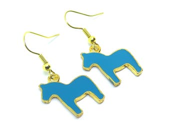 Blue Horses Gold Dangle Earrings