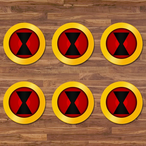 Black Widow Cupcake Toppers Black Widow Stickers Red Yellow