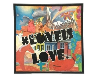 Love is Love Vinyl Record Cover Collage Art Mixed Media Vintage Music Upcycled Original Artwork Equal Rights LGBTQ Pride Painted Typography