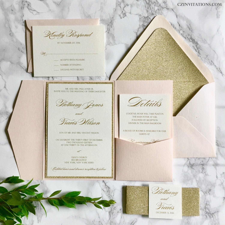 Blush and gold glitter pocket wedding invitations with glitter zoom monicamarmolfo Choice Image