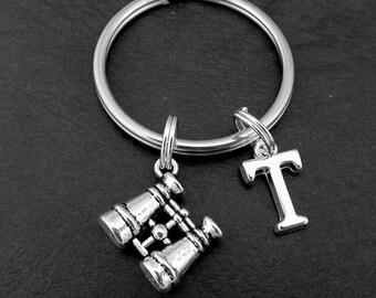 Binoculars KeyRing, Binoculars KeyChain, Travellers KeyChain, Personalised Binoculars Key chain, Bird watching Key ring