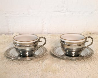 2 Vintage Coffee Cups with saucers and spoons (MY)