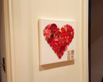 Love Heart - Handmade Button Canvas