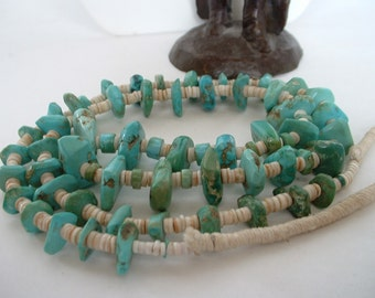 Native American Navajo Turquoise Heishe Necklace Indian Wrapped 1940