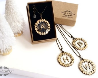 Laurel wreath initial wooden necklace Birthday Valentine Mother's day Wedding BFF Best friend Hens night Bridal Shower gift