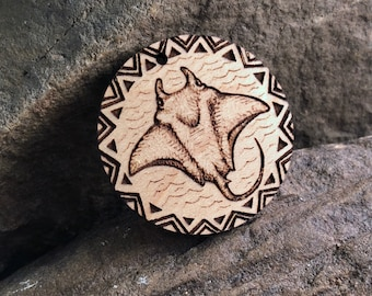 Stingray Wooden Pendant