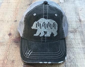 Mama Bear Hat, Mama Bear, Beach Hat, Cap, Bear, Bling Hat, Summer Hat, Bling Hat, Woman's Trucker Hat, Mom of Boys, Mom of Girls, Mama Hat