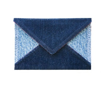 Two Tone Card Holder - Handmade from Salvaged Jeans