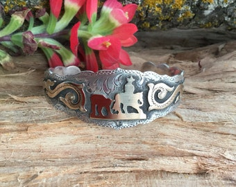 Cutting Horse Cuff Bracelet / Artisan Handmade and Hand Engraved / Sterling Silver and 1/20 12 kt gold overlay