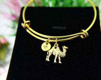 Camel Bracelet, Camel Bangle, Gold Camel Charm, Animal Charm, Adventure Gift, Outdoor Gift, Travel Gift, Mother's Day Gift, B44