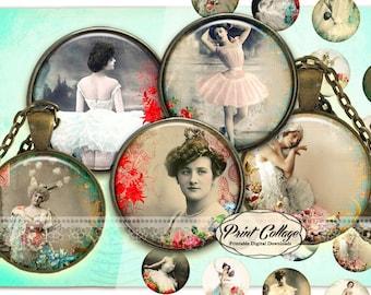 Ballerina, Digital Download, Cabochon images, Digital Collage Images, 1.5 inch, 16 mm 12 mm 1 inch Bottle Cap, printable download c231