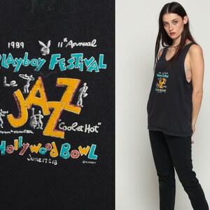 Playboy Shirt JAZZ FESTIVAL 1989 Music Top 80s Music Tank Top Hollywood Bowl Graphic Retro 1980s Hipster Sleeveless Black Medium