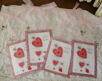 Valentine gift for teacher tags paper ornaments pink glittered vintage valentine gift wrap card scrap tags Valentine's day