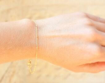 Thin Delicate Gold Bracelet, Minimum Jewelry, dainty gold bracelet,dainty silver bracelet, satellite chain, gold bead bracelet