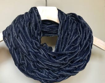 Knit Scarf, Arm Knit, Loose, Infinity