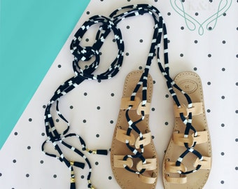 Adult Gladiator Greek Summer Leather Sandals - Fabric Wrap Up Laces and Leather colored tassels