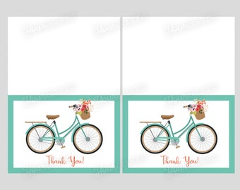 Bicycle Thank You Cards, printable INSTANT DOWNLOAD