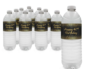 40th Birthday Gold Glitter Theme Party Water Bottle Labels - 40th Party Supplies - Turning 40 Years Party Favor - 40 Party Decor - 24 Count