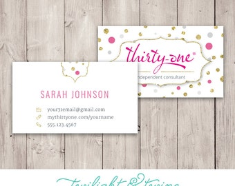 Bling business cards etsy thirty one bling dots business card custom pdf printable template consultant colourmoves