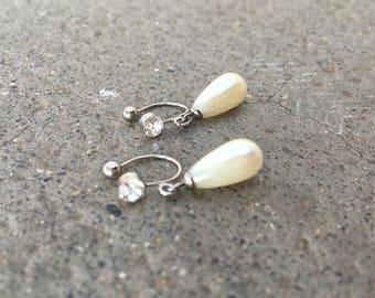 CLIPS U rhinestone with Pearl drops white earrings, everyday jewelry
