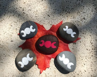 Small Hand painted Triple Moon Goddess Rocks~ Maiden, Mother, Crone-moon phases, Feminine cycles