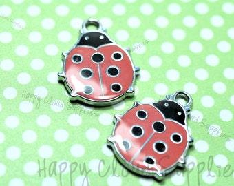 Red Lady Bug Enamel Charms... 4pcs