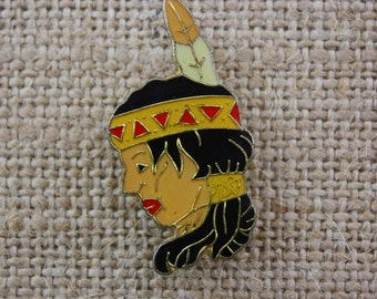 Native American Indian Head - Enamel Pin by American Gag Bag Inc. - Vintage Novelty Pin c. 1980s
