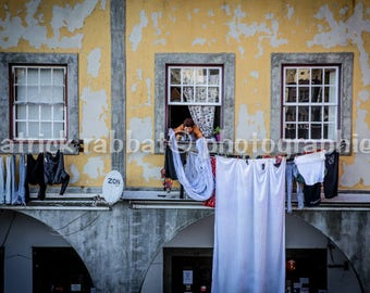Portuguese Laundry Photo Portugal Charm Windows Clothesline Photo Fine Art Photography European Old World Charm Romantic Home Decor Wall Art