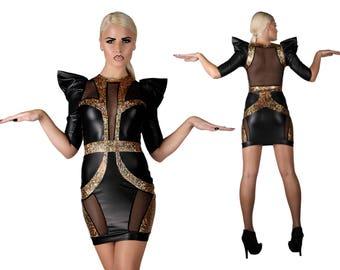 Raum-Göttin-Mini-Kleid, roter Teppich, Gold Abend Kleid, futuristische Kleidung, Bühne tragen, futuristische, holographische, LENA QUIST