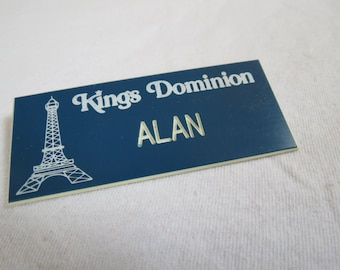 "Vintage Kings Dominion Virginia Amusement Theme Park Employee Name Tag in Blue ""Alan"" with Eiffel Tower Cedar Fair"