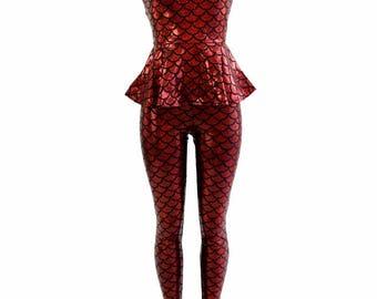 Red Dragon Scale Holographic Sleeveless Peplum Top & Leggings 2PC Set - 154403