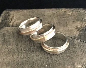 Simple Band Ring, Hammered Sterling Silver, Oxidized with Brass Band, Made to order.
