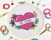 Learn embroidery, kindness, embroidery pattern, craft kit, embroidery kit, DMC threads, needlework kit, needlepoint, kits, floral embroidery