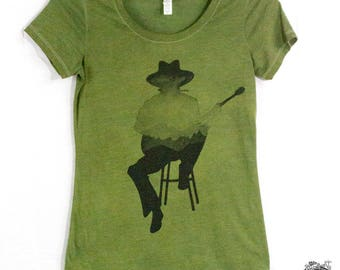 Guitar Player Mountains Silhouette Harmonica Hand Screen Printed Women's T Shirt
