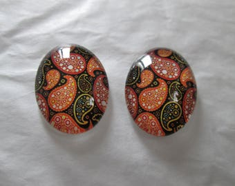 2 cabochons glass 25 x 18 mm Paisley