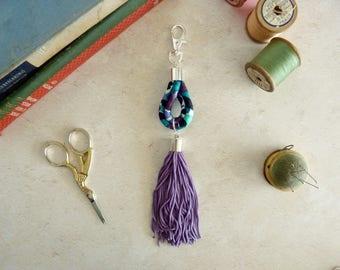 Turquoise Bag Charm - Purple Tassel Charm - Tassel Purse Charm - Handbag Tassel - Bag Accessory - Secret Santa - Gift for Her - Gift for Mum