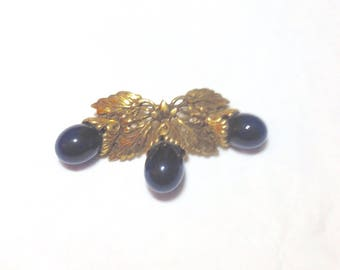 Antique Goldtone Pin with Blue Accent Stones