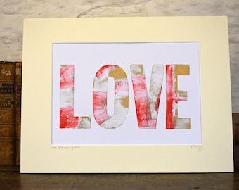 Love letterpress print, original print, Love wall art, romantic wall art, celebration print