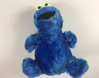 """Cookie Monster Plush Applause Rattle Eyes 80s Stuffed 11"""" Toy Muppets Kids"""