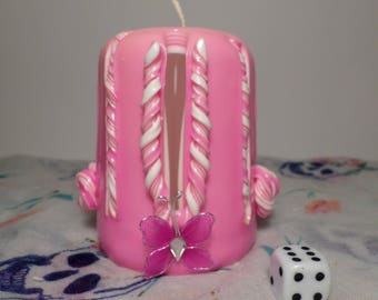 Small carved candles Pink/White/Butterfly-Carved Candle-candle-Candle-made hand-Handmade-gift-Gift-candle children handcrafted candles